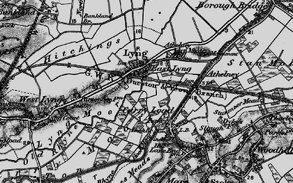 Old map of East Lyng in 1898