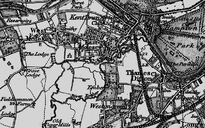 Old map of East Molesey in 1896