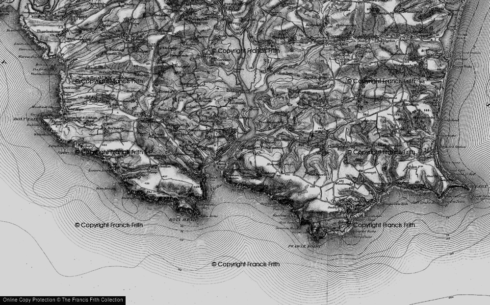 Old Map of Historic Map covering Westerncombe in 1897