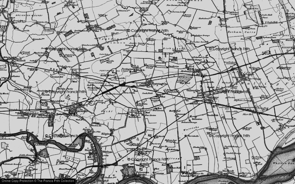 Old Map of Historic Map covering Balkholme Common in 1895