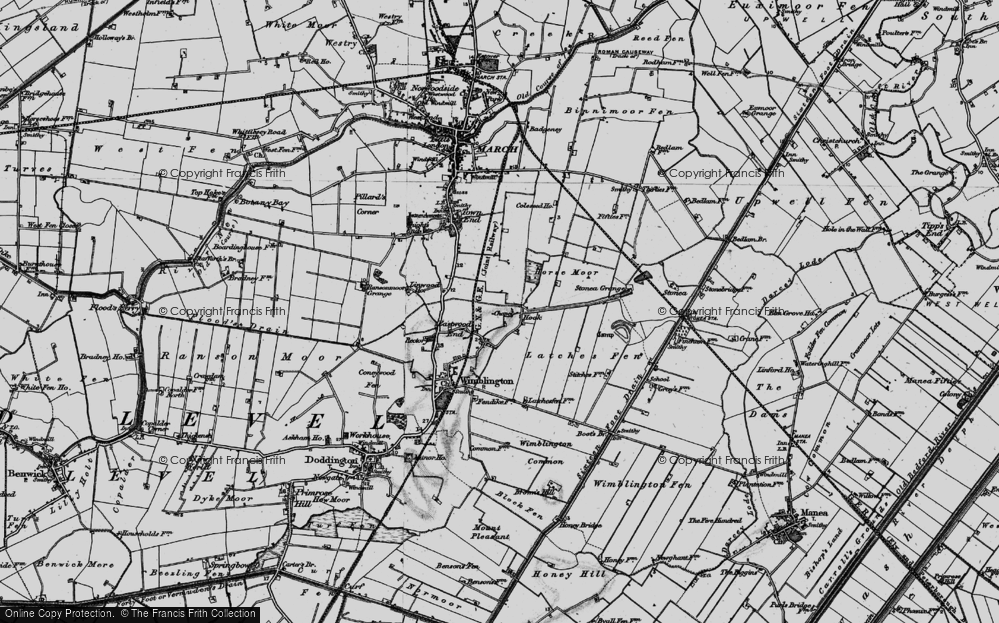 Old Map of Historic Map covering Latches Fen in 1898