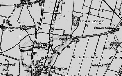 Old map of Latches Fen in 1898