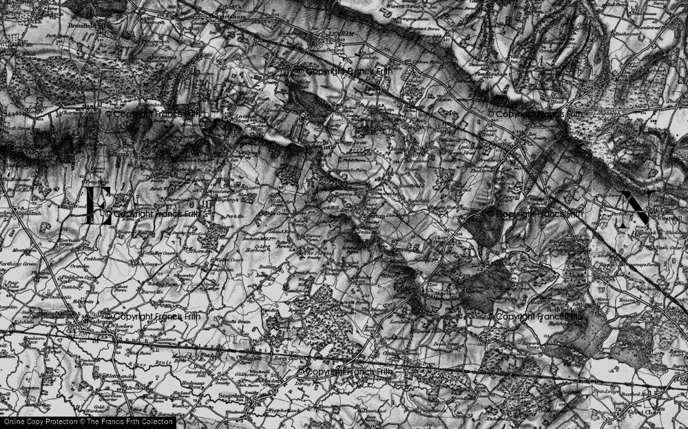 Old Map of Historic Map covering Lark Hill in 1895