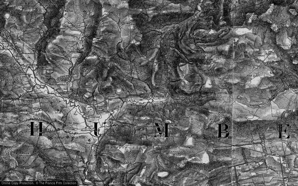 Old Map of Historic Map covering Leech-hope Crag in 1897