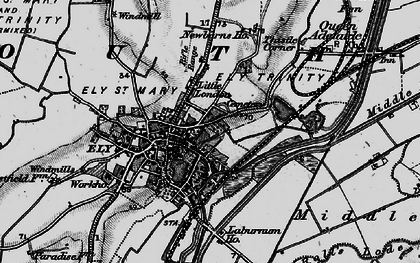 Old map of Ely in 1898