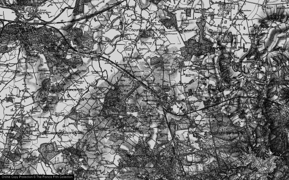 Old Map of Historic Map covering Woose Hill in 1895