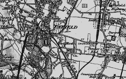 Old map of Enfield in 1896