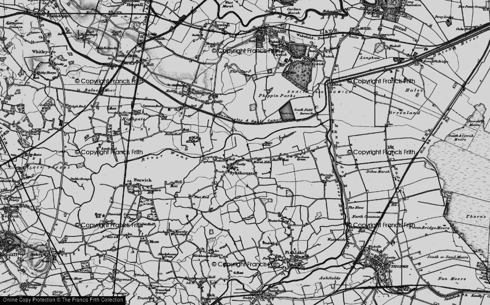 Old Map of Historic Map covering Aire and Calder Navigation in 1895
