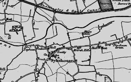 Old map of Aire and Calder Navigation in 1895