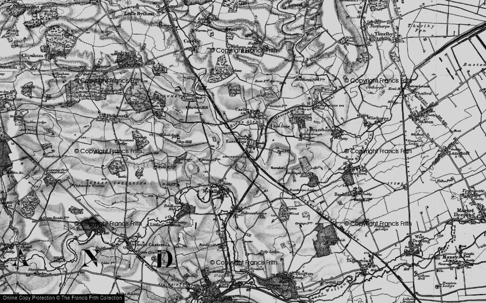 Old Map of Historic Map covering Tolethorpe Oaks in 1895