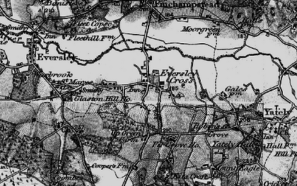 Old map of Eversley Cross in 1895