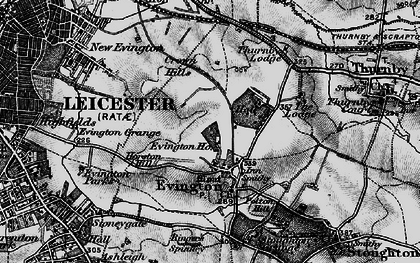 Old map of Evington in 1899