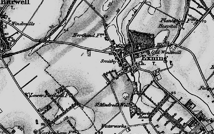 Old map of Exning in 1898
