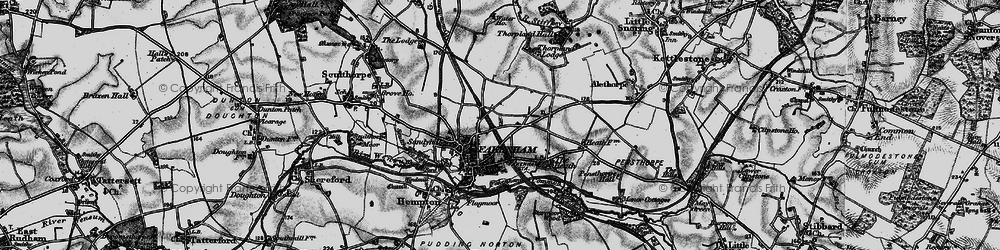 Old map of Fakenham in 1898