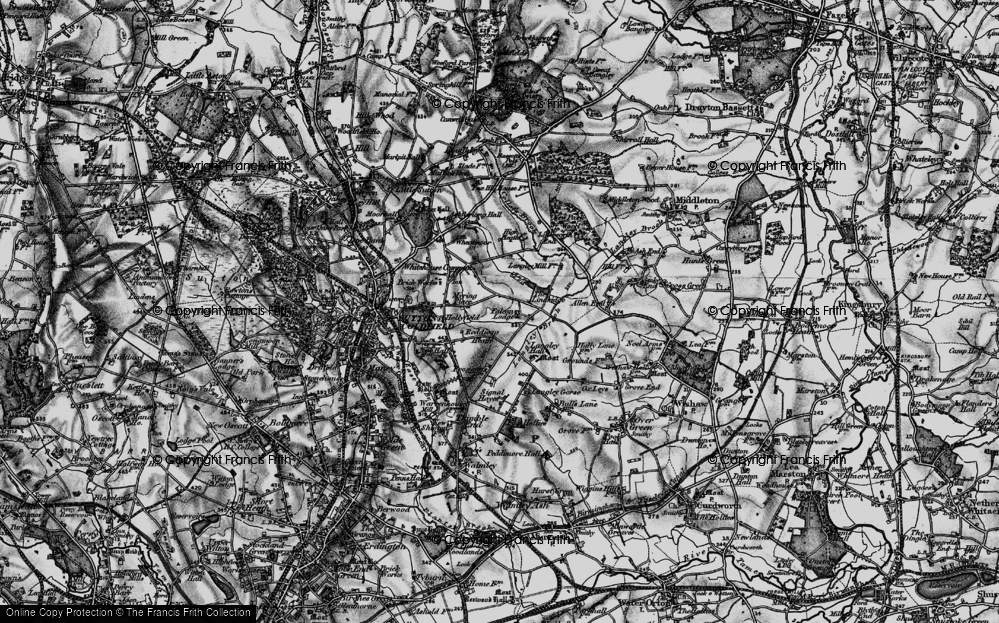 Old Map of Historic Map covering Lindridge, The in 1899