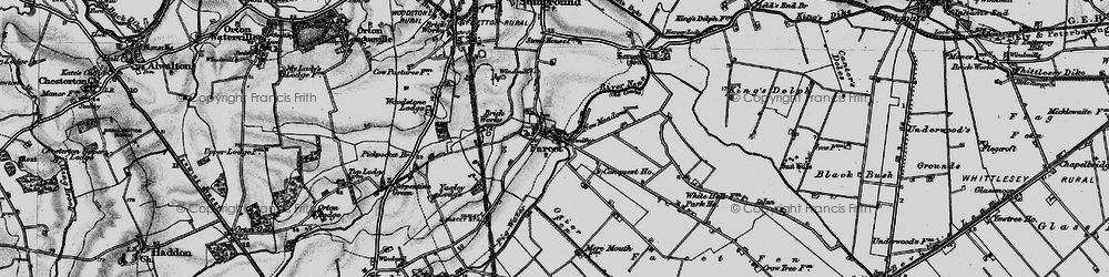 Old map of Farcet in 1898