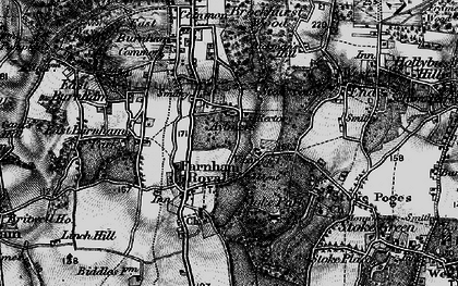 Old map of Farnham Royal in 1896
