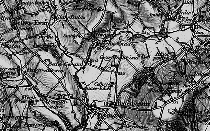 Old map of Afon Ceri in 1898