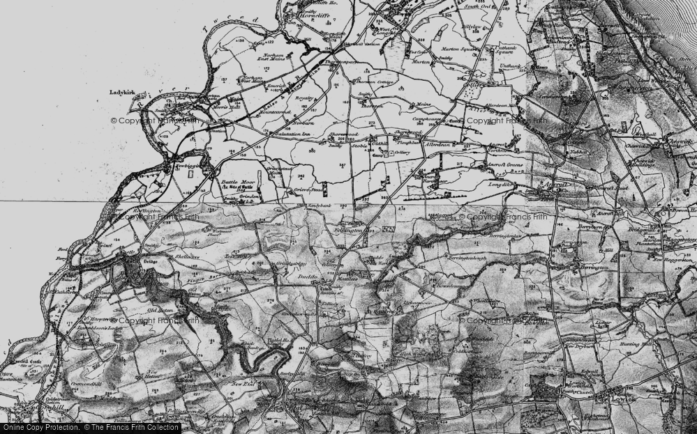 Old Map of Historic Map covering Lickar Moor in 1897