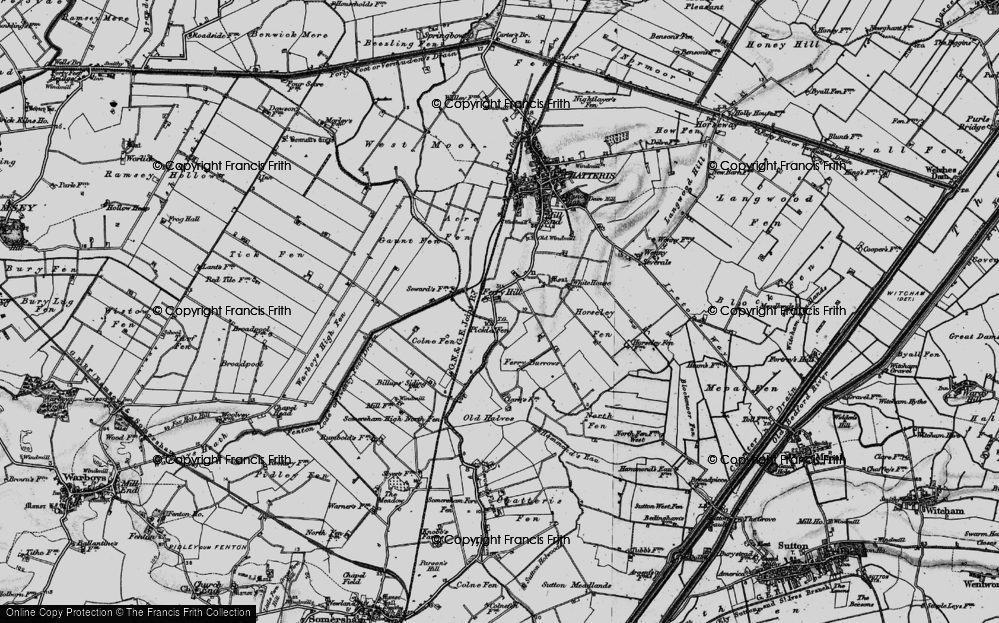 Old Map of Historic Map covering Acre Fen in 1898