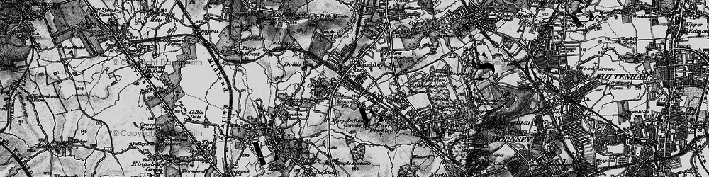 Old map of Finchley in 1896