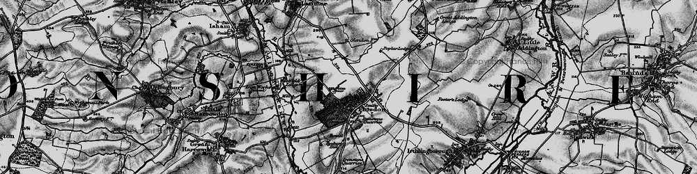 Old map of Finedon in 1898