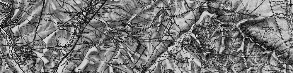 Old map of Winterbourne Down in 1895