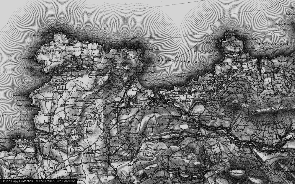 Old Map of Fishguard, 1898 in 1898