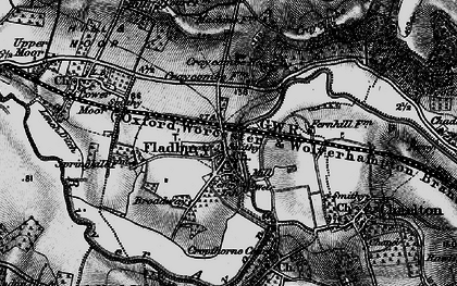 Old map of Fladbury in 1898