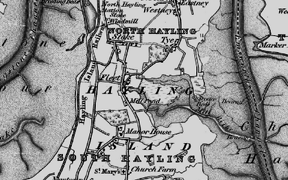 Old map of Hayling Island in 1895