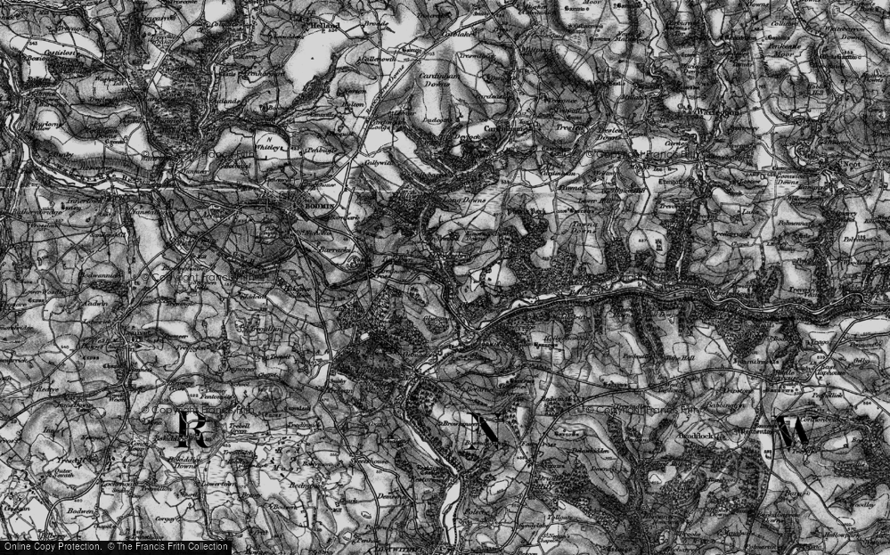 Old Map of Historic Map covering Laneskin Wood in 1895