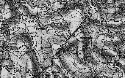 Old map of Four Lanes in 1896