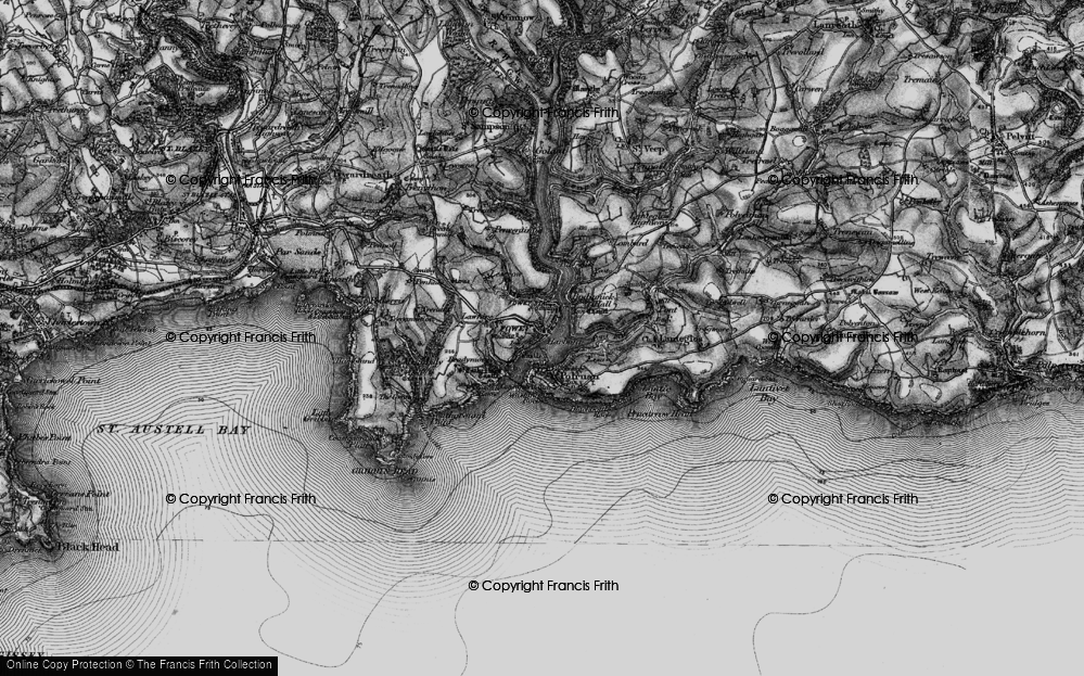 Old Map of Fowey, 1896 in 1896