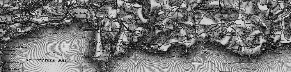 Old map of Fowey in 1896