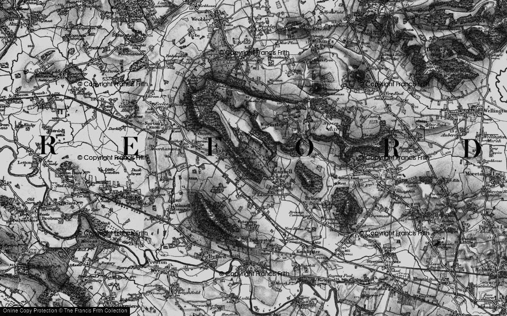 Old Map of Historic Map covering Bache Wood in 1898