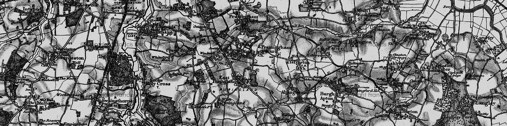 Old map of Framingham Earl in 1898