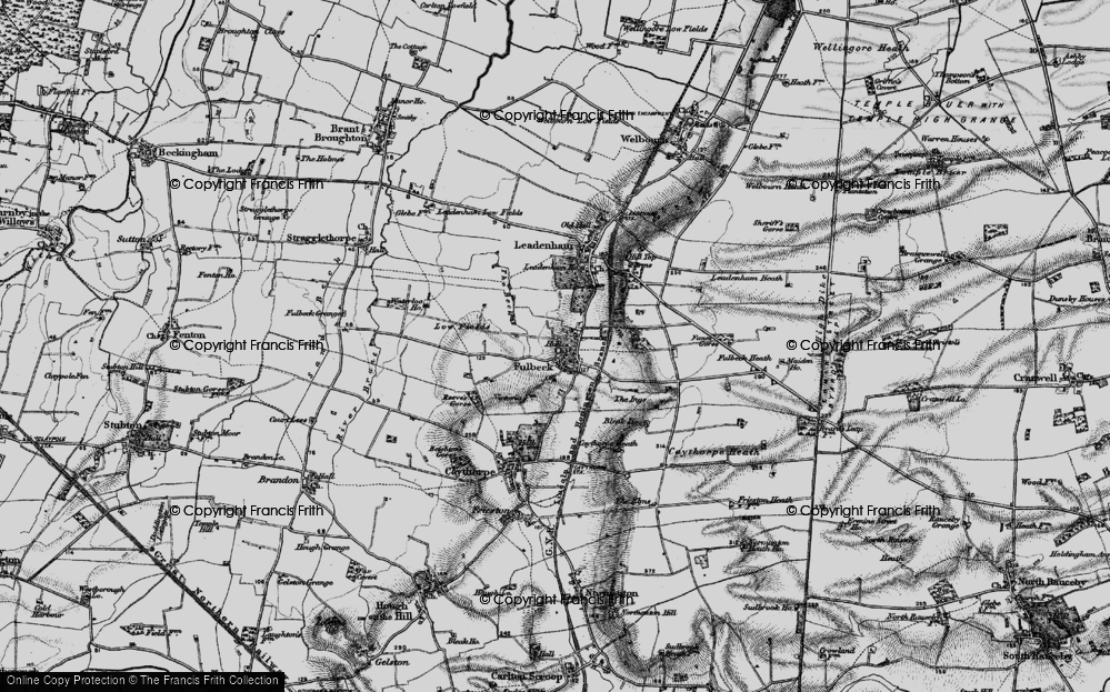 Old Map of Historic Map covering Leadenham Ho in 1895