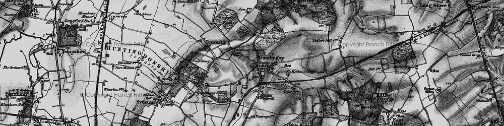 Old map of Gamlingay in 1896