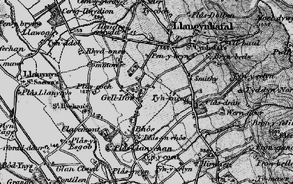 Old map of Gellifor in 1897
