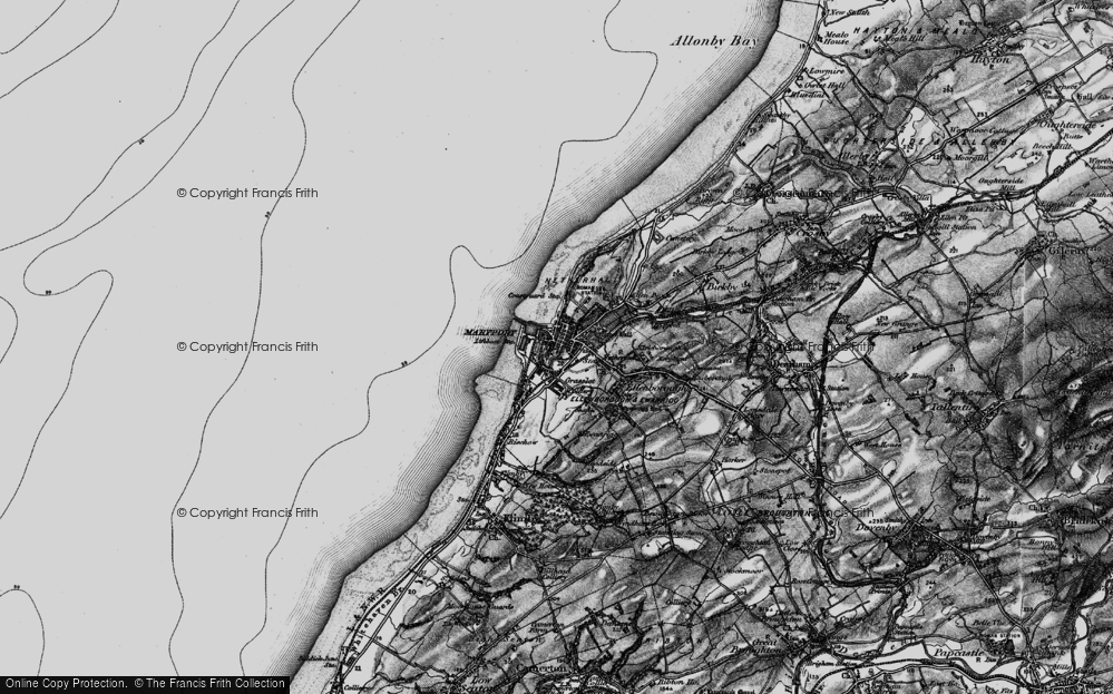 Old Map of Historic Map covering Alavna Roman Fort in 1897