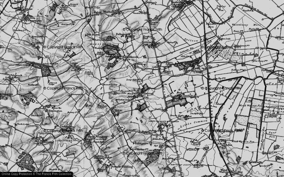 Old Map of Glatton, 1898 in 1898