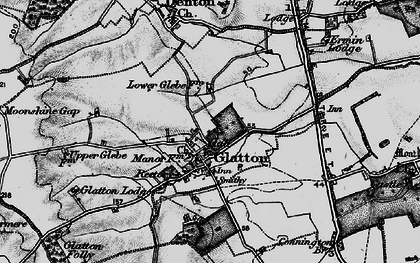 Old map of Glatton in 1898