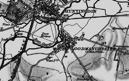 Old map of Godmanchester in 1898