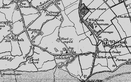 Old map of Goldcliff in 1898