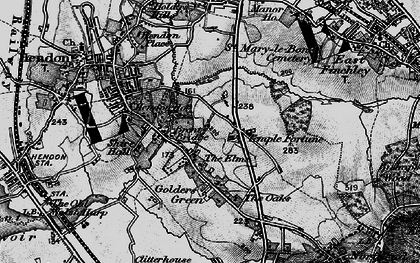 Old map of Golders Green in 1896