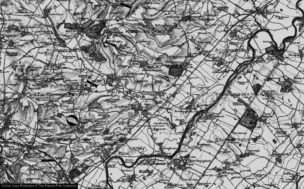 Old Map of Historic Map covering Barker Hill in 1899