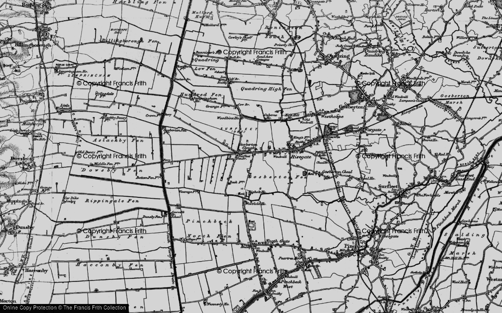 Old Map of Historic Map covering Woodbine Ho in 1898