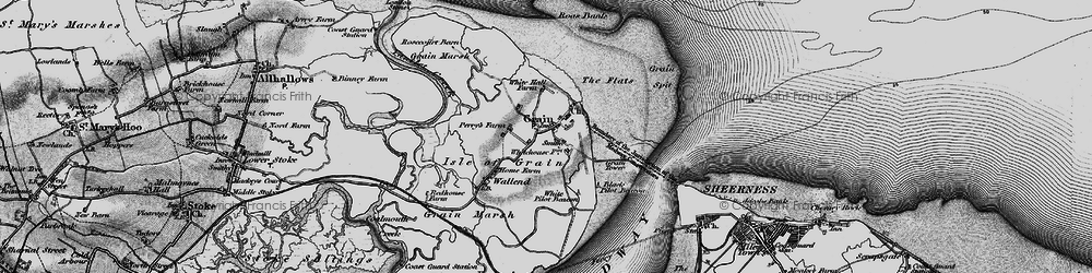 Old map of Isle of Grain in 1896
