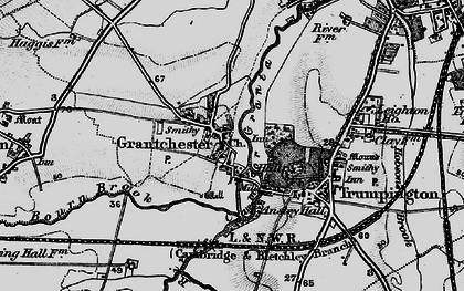 Old map of Grantchester in 1898