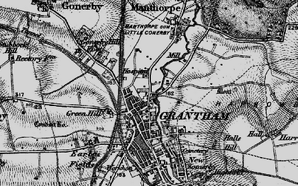 Old map of Grantham in 1895